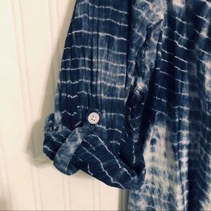 KC Khakis & Co Tops - KC Khakis & Co blue tie dye button up blouse 1X